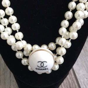 Authentic CHANEL button repurposed necklace